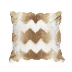 Gianfranco Ferré Kirah Chevron Pillow in Beige Orylag Fur