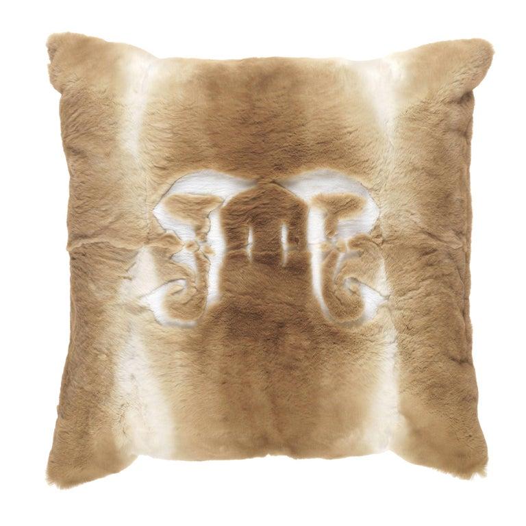 Gianfranco Ferré Kirah Gothic Beige Negative Cushion in Orylag and Velvet For Sale