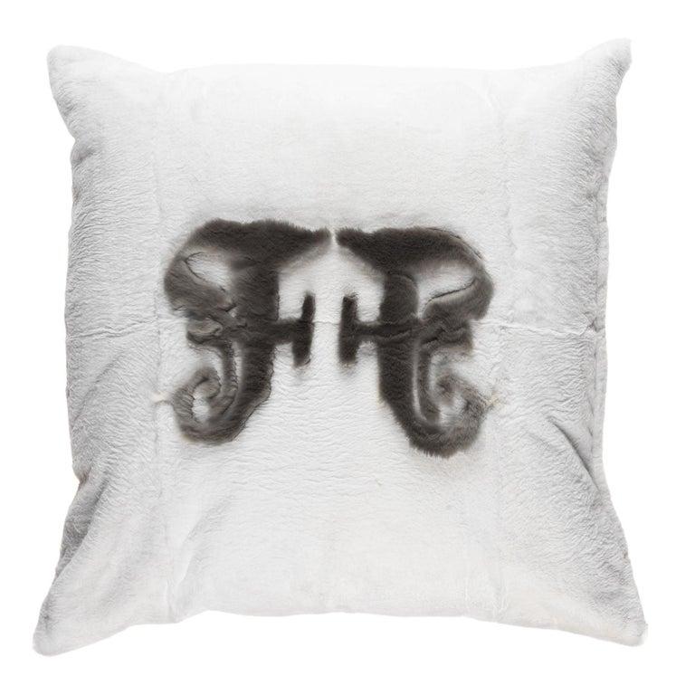 Gianfranco Ferré Kirah Gothic Beige Positive Cushion in Orylag and Velvet For Sale