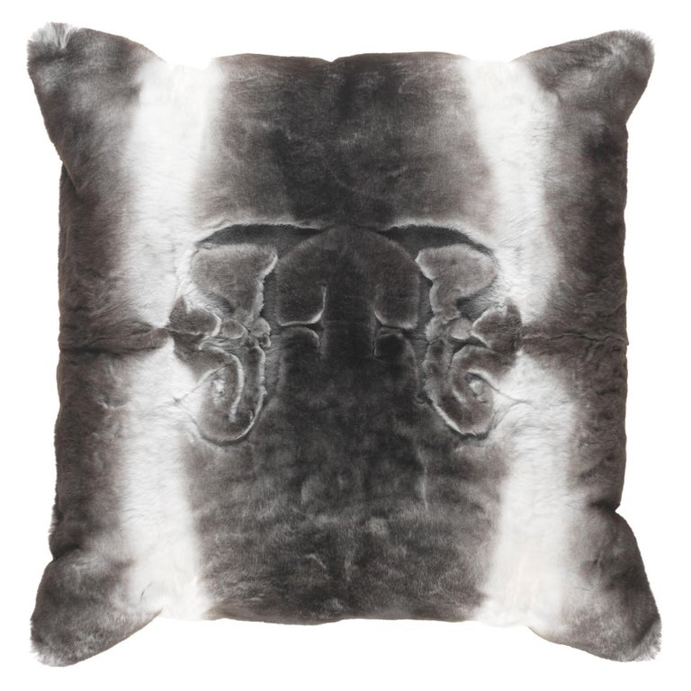 Gianfranco Ferré Kirah Gothic Grey Negative Cushion in Orylag and Velvet For Sale