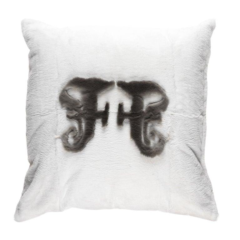 Gianfranco Ferré Kirah Gothic Grey Positive Cushion in Orylag and Velvet For Sale