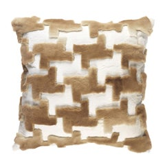 Gianfranco Ferré Home Kirah Pied De Poule Beige Cushion in Orylag and Velvet