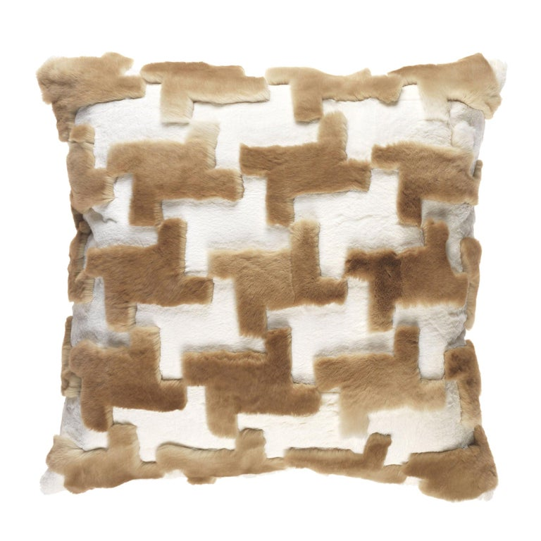 Gianfranco Ferré Kirah Pied De Poule Beige Cushion in Orylag and Velvet For Sale