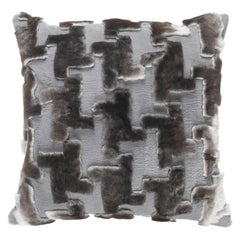 Gianfranco Ferré Home Kirah Pied De Poule Grey Cushion in Orylag and Velvet