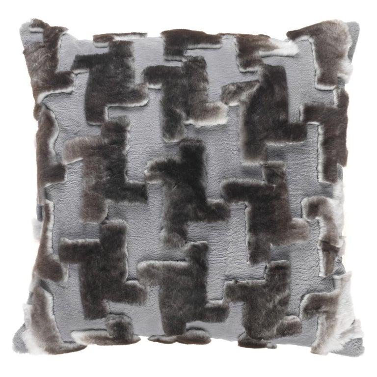 Gianfranco Ferré Kirah Pied De Poule Grey Cushion in Orylag and Velvet For Sale