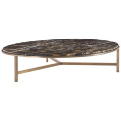 Gianfranco Ferré Home Large Ascott Center Table in Metal and Marble Top