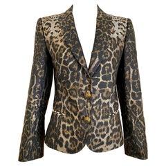 Gianfranco Ferre Leopard Print Silk Blazer Jacket