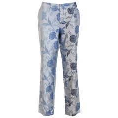 Gianfranco Ferre Light Blue Cotton Floral Classic Straight Trousers