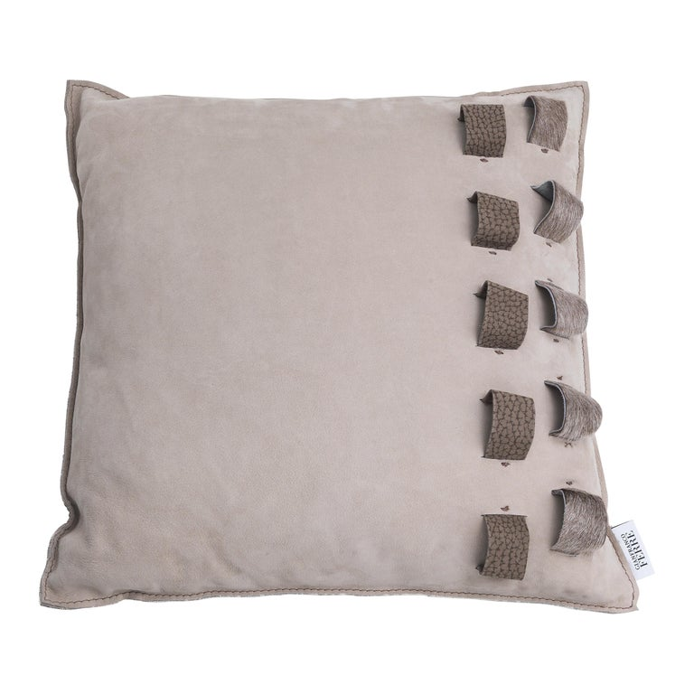 Gianfranco Ferré Loch Ness Cushion in Leather For Sale