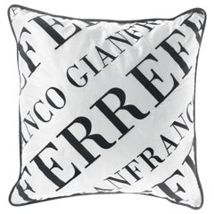 Gianfranco Ferre Logo Bold Black and White Cushion in Shantung and Velvet