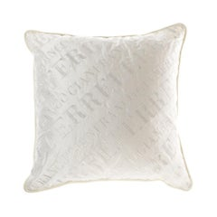 Gianfranco Ferré Logo Pillow in White Fabric