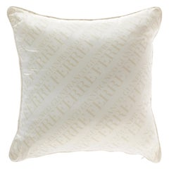 Gianfranco Ferré Logo White Cushion in Shantung and Velvet