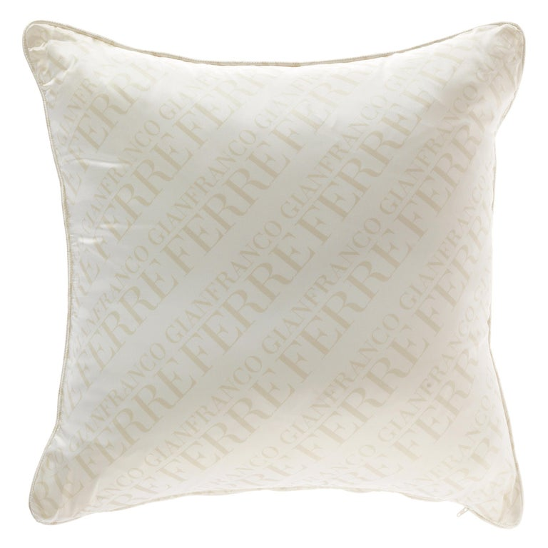 Gianfranco Ferré Logo White Cushion in Shantung and Velvet For Sale