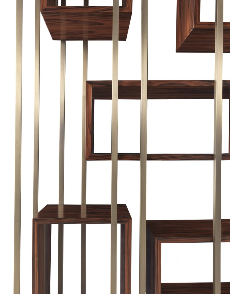 Gianfranco Ferre Mackintosh Bookcase in Brass and Wood For Sale 4