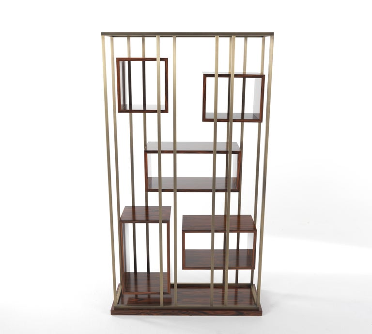 Gianfranco Ferre Mackintosh Bookcase in Brass and Wood For Sale 5