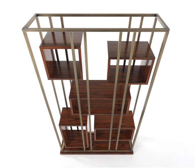 Gianfranco Ferre Mackintosh Bookcase in Brass and Wood For Sale 6