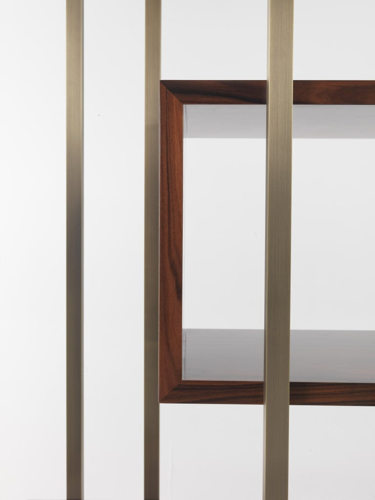 Modern Gianfranco Ferre Mackintosh Bookcase in Brass and Wood For Sale