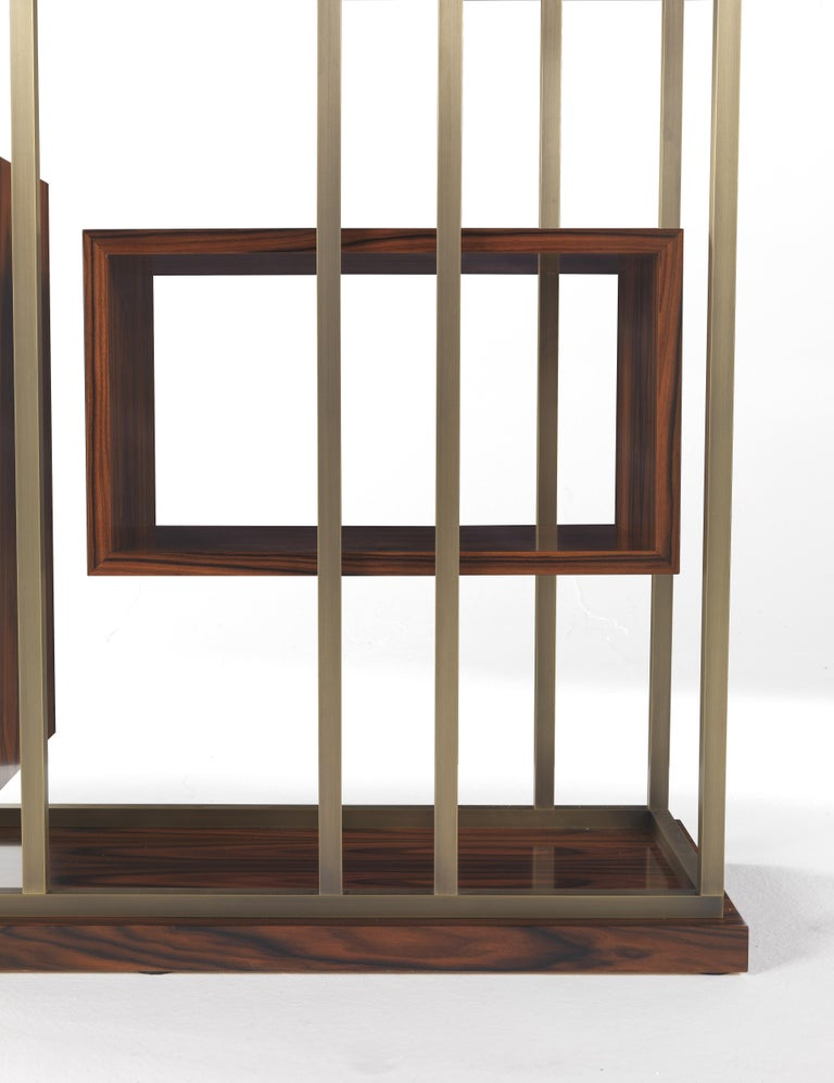 Contemporary Gianfranco Ferre Mackintosh Bookcase in Brass and Wood For Sale