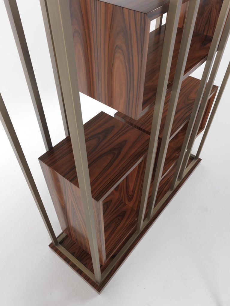 Gianfranco Ferre Mackintosh Bookcase in Brass and Wood For Sale 3