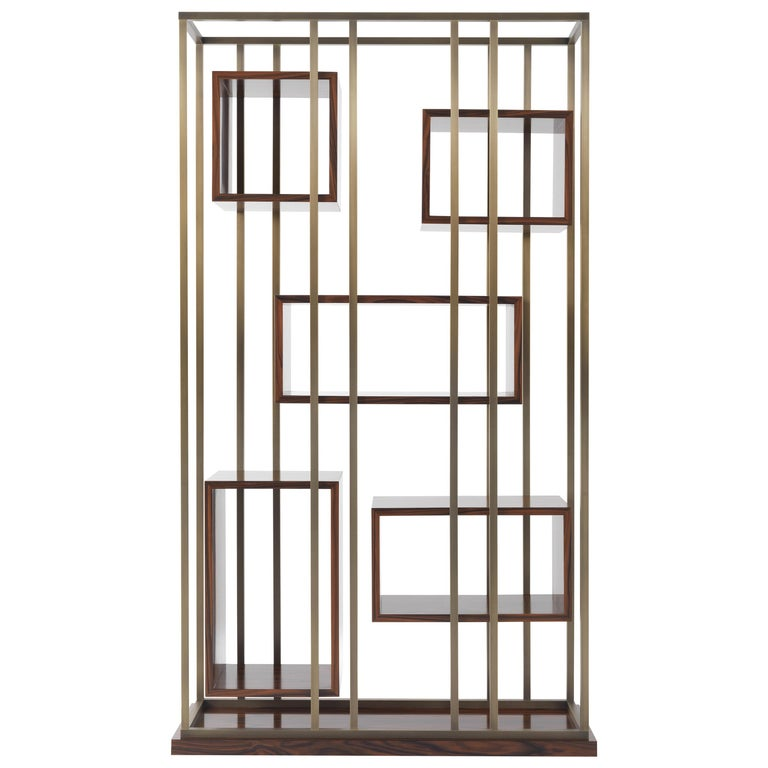Gianfranco Ferre Mackintosh Bookcase in Brass and Wood For Sale