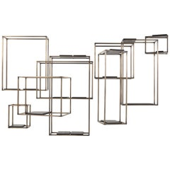 Gianfranco Ferré Home Matrix Bookcase in Brass and Leather