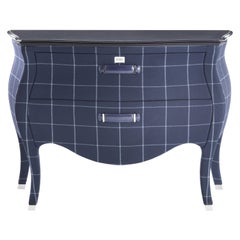 Gianfranco Ferré Home Matthew Chest of Drawers in Squares Blue Iconic Wool