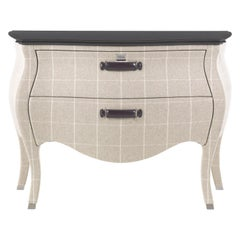 Gianfranco Ferré Matthew Chest of Drawers in Poplar & Squares Beige Iconic Wool