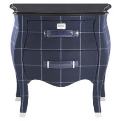 Gianfranco Ferré Matthew Night Table in Poplar and Squares Blue Iconic Wool
