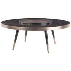 Gianfranco Ferré Mayfair Dining Table in Wood and Top in Sahara Noir Marble