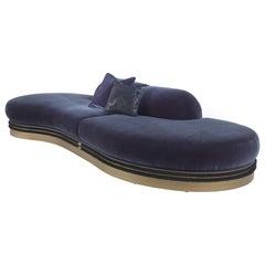 Gianfranco Ferré Medium Alexander Modular Sofa in Blue Velvet Upholstery