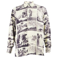 Gianfranco Ferre Men's Vintage Explorer Print Linen & Rayon Long Sleeve Shirt