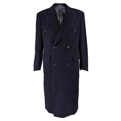 Gianfranco Ferre Mens Vintage Navy Blue Wool Pea Coat