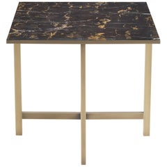 Gianfranco Ferré Miller Side Table With Structure in Metal and Top in Marble