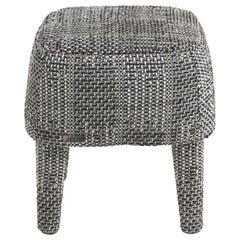 Gianfranco Ferré Mini Pouf in Black & White Woven Chenille Fabric