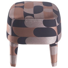 Gianfranco Ferré Mini Pouf in Wood and Fifties Pink Jacquard Upholstery