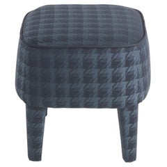 Gianfranco Ferré Mini Pouf in Wood with Blue Woven Chenille