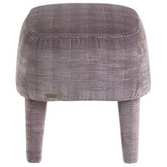 Gianfranco Ferré Mini Pouf in Wood with Galles Grey Iconic Cotton Fabric