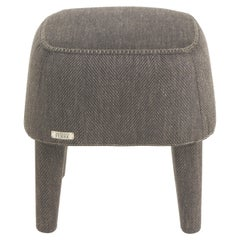 Gianfranco Ferré Mini Pouf in Wood with Velvet Cotton Dove Grey Fabric