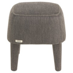 Gianfranco Ferré Mini Pouf in Wood with Woven Chevron Brown Chenille Fabric