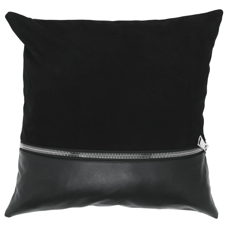 Gianfranco Ferré Missie Black Cushion in Suede and Leather For Sale
