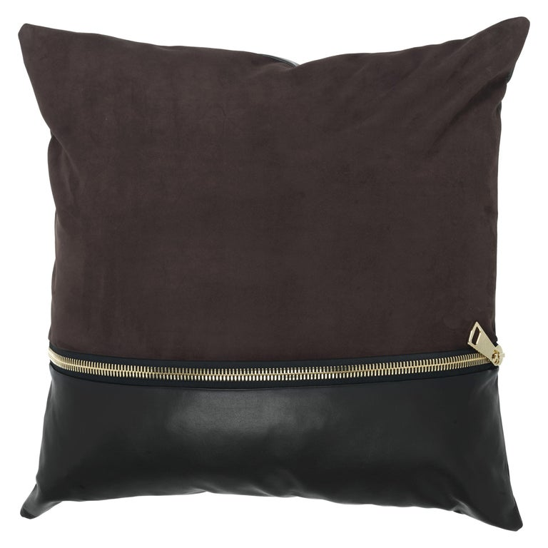 Gianfranco Ferré Missie Dark Brown Cushion in Suede and Leather For Sale
