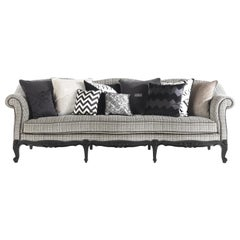 Gianfranco Ferré Nashville Sofa in Grey and White Woven Upholstery