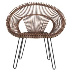 Gianfranco Ferré Nest Armchair in Steel and Rattan