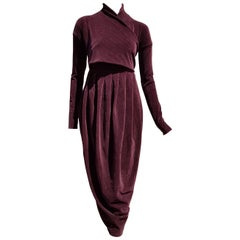 "Gianfranco FERRÉ ""New"" Burgundy Velvet Cotton Dress - Unworn"