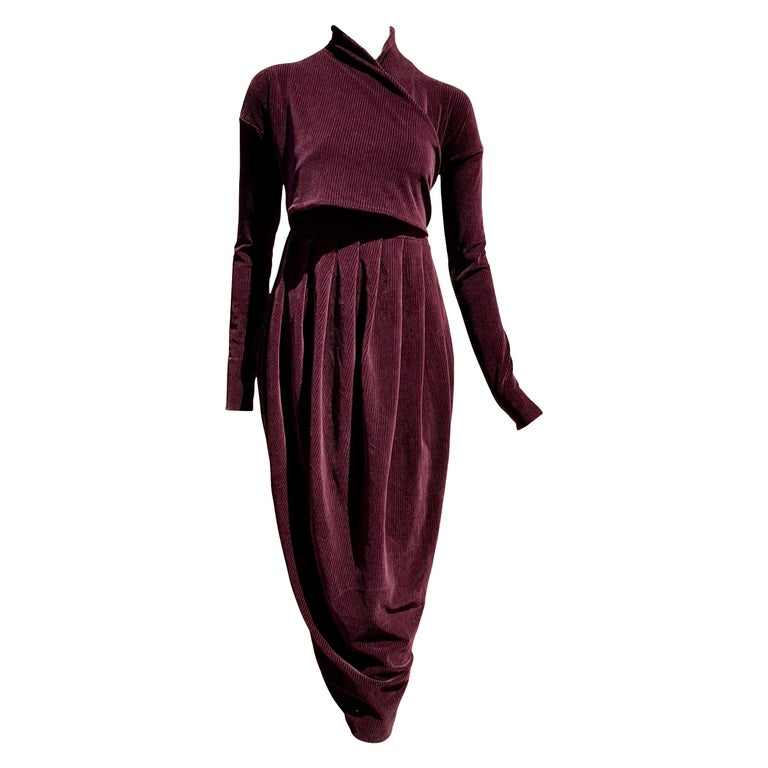 """Gianfranco FERRÉ """"New"""" Burgundy Velvet Cotton Dress - Unworn For Sale"""