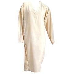 "Gianfranco FERRE ""New"" Couture Cream Pletaed Back Belt Wool Dress - Unworn"