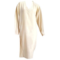 "Gianfranco FERRE ""New"" Couture Cream Pletaed Back Belt Wool Dress - Unworn"