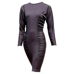 "Gianfranco FERRÉ ""New"" Haute Couture Brown Gray Striped Wool Dress - Unworn"