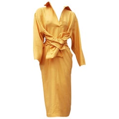 "Gianfranco FERRÉ ""New"" Haute Couture Yellow Silk Shantung Dress - Unworn"