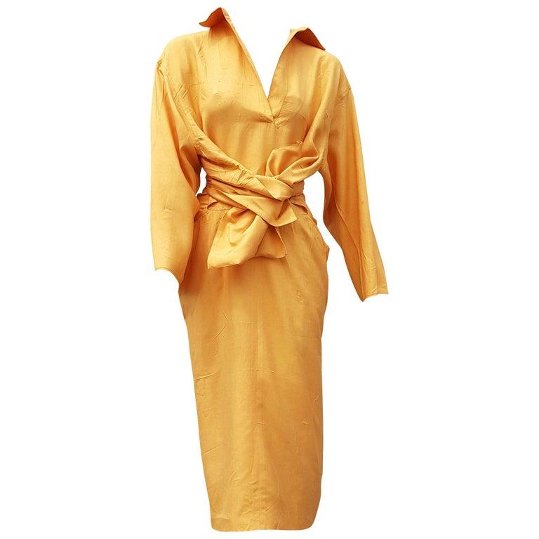 "Gianfranco FERRÉ ""New"" Haute Couture Yellow Silk Shantung Dress - Unworn For Sale"